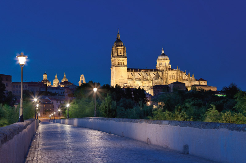 architecture, bridge, castilla, cathedral, city, colour, europe, get dark, illumination, landscape, leon, lights, night, nightfall, nocturne, patrimony, roman, salamanca, spain, stone, streetlamp, town planning, urban, y