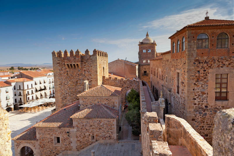 Caceres, antique, battlements, building, center, city, downtown, historic, medieval, monument, old, palace, spain, square, stone, tower, unesco, wall