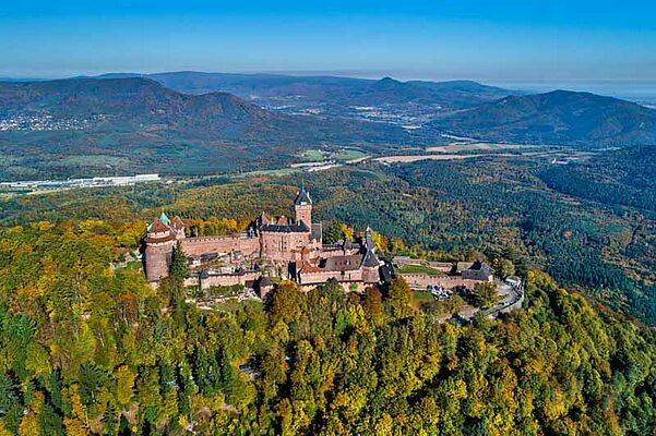 aerial, alsace, ancient, architecture, autumn, beautiful, blue, building, castle, chateau, destination, drone, europe, fall, famous, flight, forest, fort, fortification, fortress, france, french, haut, haut-koenigsbourg, heritage, high, hill, historic, history, koenigsbourg, landmark, landscape, majestic, medieval, monument, mountain, nature, old, palace, panorama, place, sky, stronghold, tourism, touristic, tower, travel, view, vosges, wall
